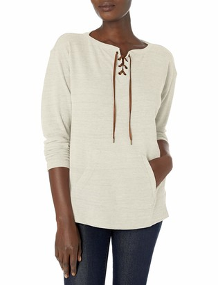 Chaps Women's Waffle Knit Lace-Up Placket Top