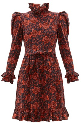 Batsheva Ruffled Grape And Floral-print Cotton Dress - Black Red