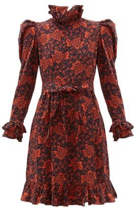 Batsheva Ruffled Grape And Floral Print Cotton Dress - Womens - Black Red