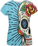 Old Glory Sugar Skull All Over Womens T-Shirt