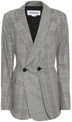 Monse Checked wool and cotton blazer