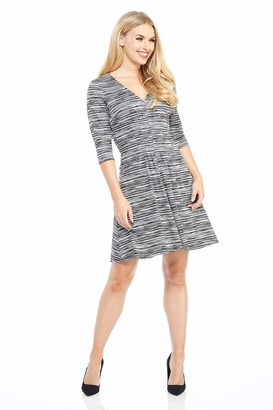 London Times Women's Petite Elbow Sleeve V Neck Pleat Tucked FIT and Flare Dress Black/Grey 8P