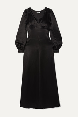Bella Freud Nova Hammered-satin Maxi Dress - Black