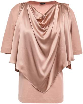 Joseph Layered Draped Silk-satin And Cotton-jersey T-shirt