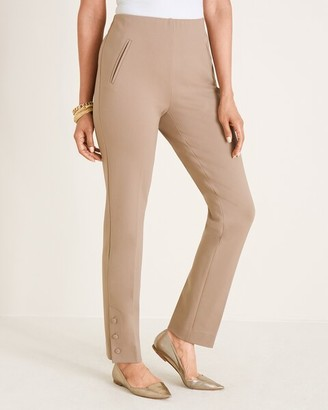 So Slimming Juliet Side-Vent Covered-Button Ankle Pants