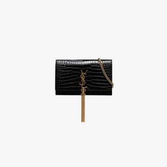 Saint Laurent Black Kate small mock croc leather shoulder bag