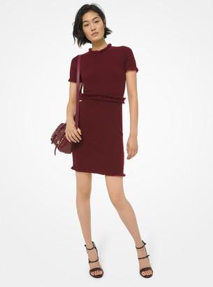 MICHAEL Michael Kors Fringed Textured Merino Wool Blend Dress