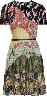 Valentino Pleated Printed Silk And Lace Mini Dress