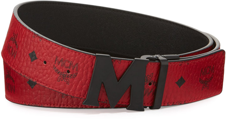 MCM Visetos Reversible Matte-Buckle Belt