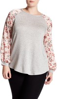 Hip Satin Floral Sleeve Sweater (Plus Size)