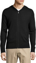 Neiman Marcus Wool-Blend Hooded Zip-Front Sweater, Black