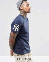 Majestic Yankees T-shirt With Sleeve Logo Exclusive To Asos