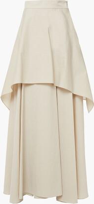 Brunello Cucinelli Tiered Crinkled Cotton-blend Poplin Maxi Skirt