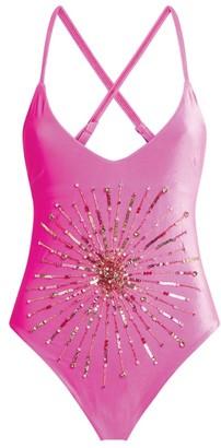 Oceanus Faye Embellished Velvet Swimsuit