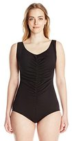 Maxine Of Hollywood Women's Plus-Size Spa Solid Shirred Swimsuit with Chlorine Resist