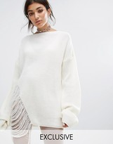 Bones Oversized Knit Jumper With Distressed Threading On Side