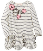 Baby Sara Long Sleeve Stripe Tunic With Flower Trim At Neck (Baby & Toddler Girls)