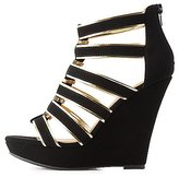 Charlotte Russe Qupid Metallic-Trim Caged Wedge Sandals