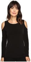 Calvin Klein Cold Shoulder Top w/ Faux Leather