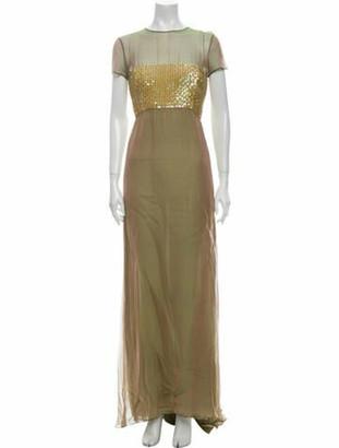 Oscar de la Renta Crew Neck Long Dress Green