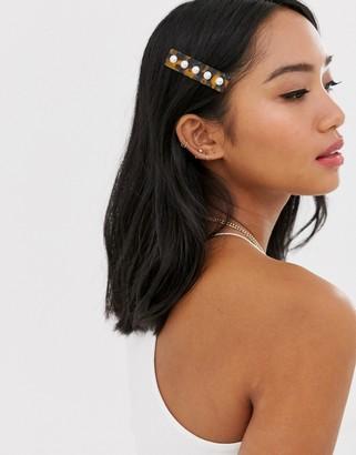 Orelia tortoishell resin faux pearl embellished hair clip