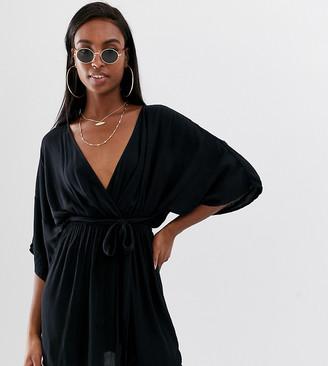 Asos DESIGN Tall plunge tie waist kimono sleeve crinkle beach cover up in black