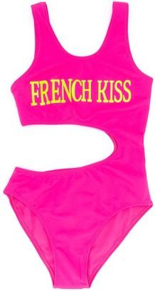 Alberta Ferretti Kids French Kiss print swimsuit