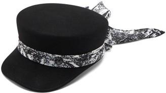 Maison Michel Abby Satin-trim Felt Baker Boy Cap - Womens - Black