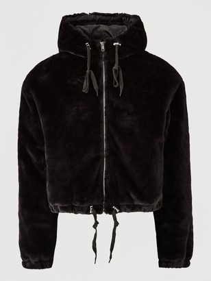 Missguided Faux Fur Hooded Bomber Jacket -