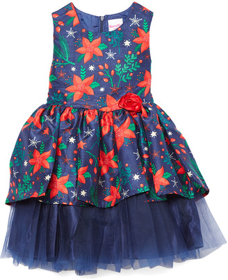 Nannette Kids Girls' Special Occasion Dresses NAVY - Navy Floral Layered Shantung Sleeveless Dress - Toddler