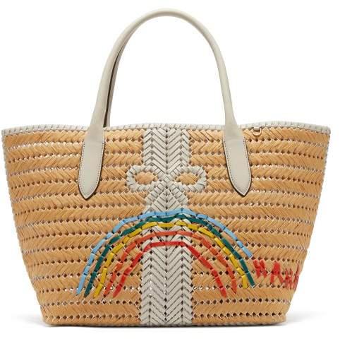 Anya Hindmarch The Neeson Medium Straw Basket Bag - Womens - White Multi