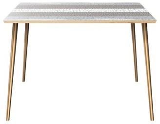 Orren Ellis Gaier Dining Table Table Top Color: Natural, Table Base Color: Brass
