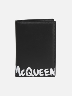 Alexander McQueen Card Holder In Leather With Graffiti Effect Logo