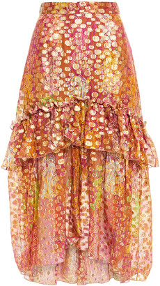 Dundas Tiered Metallic Fil Coupe Printed Silk-blend Midi Skirt