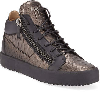 Giuseppe Zanotti Men's London Metallic Mid-Top Zip Sneakers