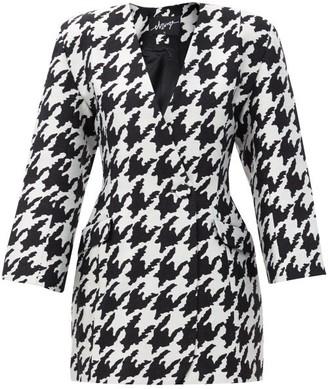 Elzinga - Houndstooth-jacquard Blazer Mini Dress - Black White