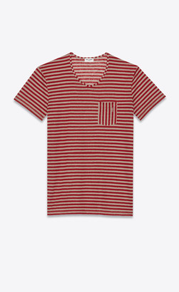 Saint Laurent T-shirt And Jersey Striped Monogram Pocket T-shirt In Linen Jersey Red 10