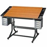 Alvin CraftMaster II Deluxe Drafting Table Cherry Woodgrain Top/Black Base