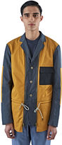 Marni Men's Technical Poplin Patchwork Jacket In Mustard And Blue