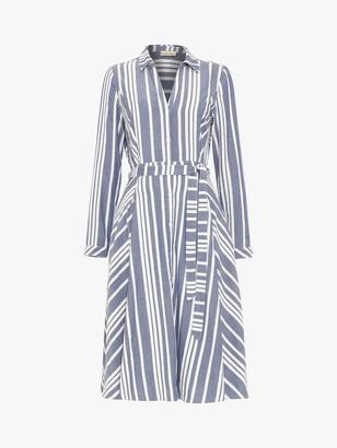 Phase Eight Willa Stripe Shirt Dress, Navy/Ivory