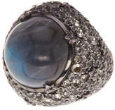 Stephen Dweck 18mm Sterling Silver Labradorite & Lemon Quartz Detail Ring - Size 7