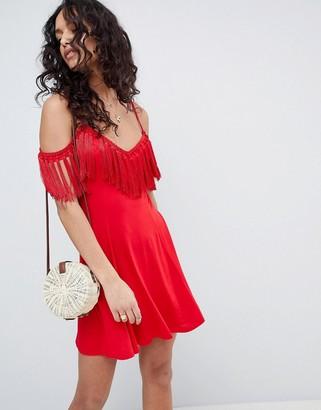 Asos Design DESIGN mini sundress with cold shoulder and tassel detail