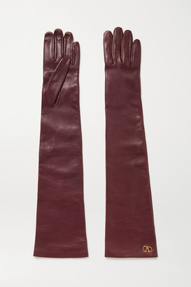 Valentino Garavani Embellished Leather Gloves - Burgundy