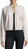 Rebecca Taylor Zip-Front Lamb Leather Bomber Jacket
