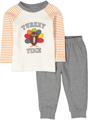 Baby Essentials Boys' Casual Pants Creme - Creme Stripe 'Turkey Time' Raglan Tee & Gray Sweatpants - Infant