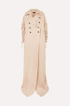 Ann Demeulemeester Oversized Ruched Double-breasted Crepe De Chine Coat - Blush