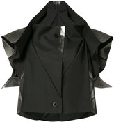 Issey Miyake cropped foil detail jacket - women - Polyester - 3