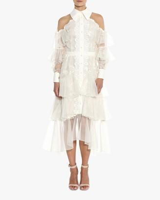 Marchesa Off-Shoulder Tiered Silk Midi Dress