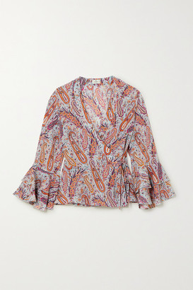 Etro Ruffled Paisley-print Silk Crepe De Chine Wrap Top - Light blue