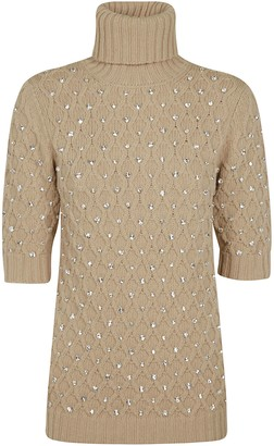 Blumarine Crystal Embellished Patterned Sweater